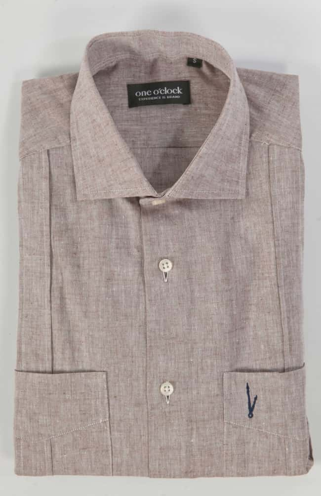 GUAYABERA LINO CHOCOLATE