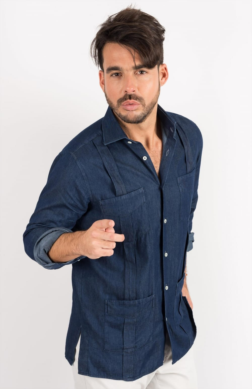 DENIM GUAYABERA ONE