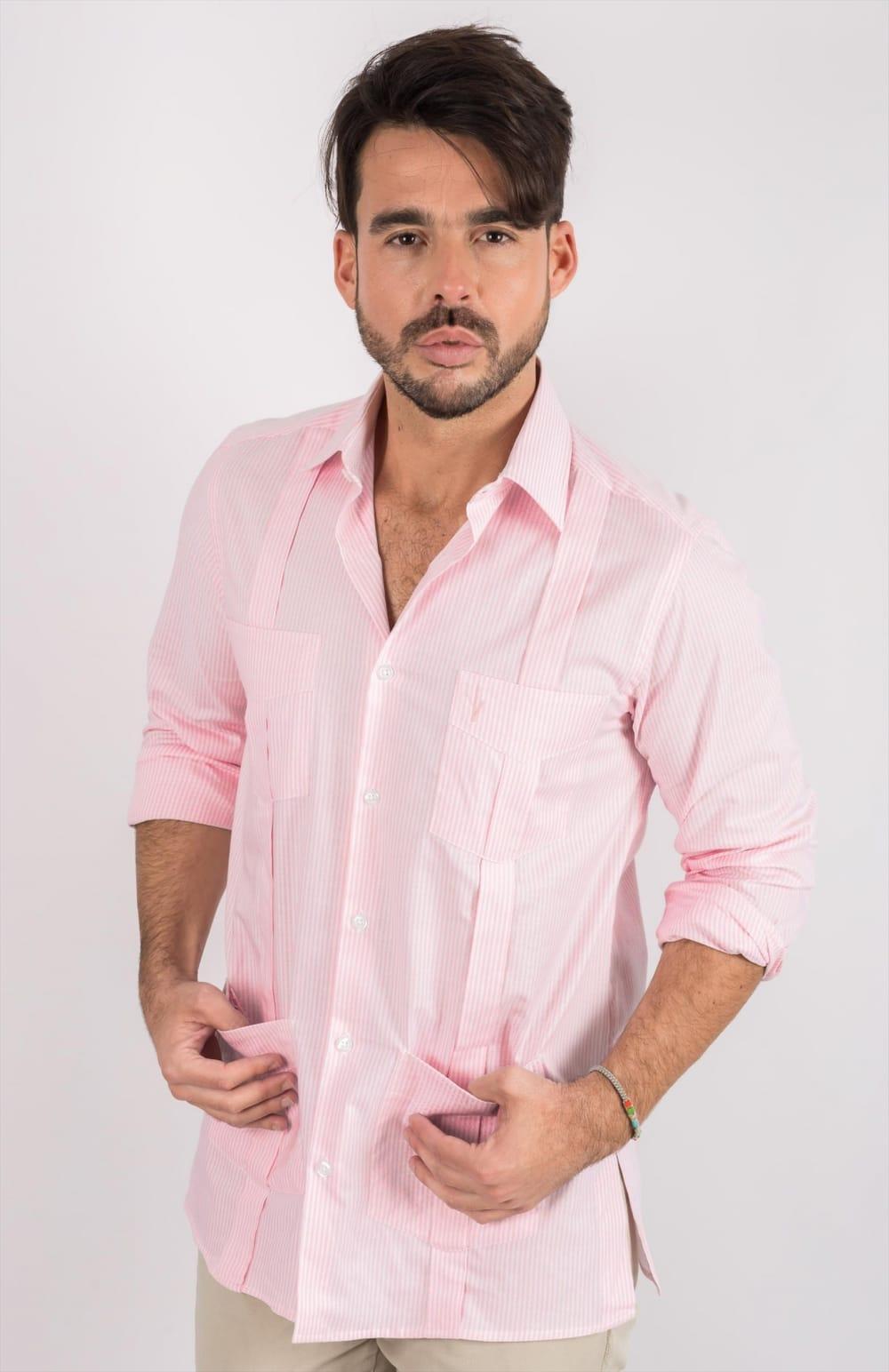 GUAYABERAS RAYAS ROSAS
